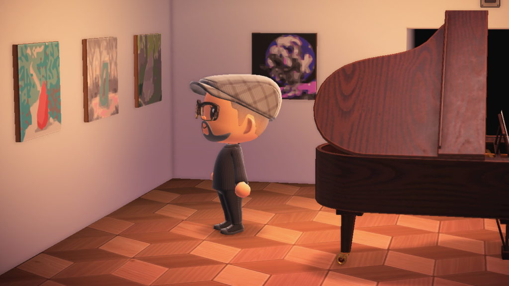 An Animal Crossing avatar looks at works of art hanging on the gallery wall.